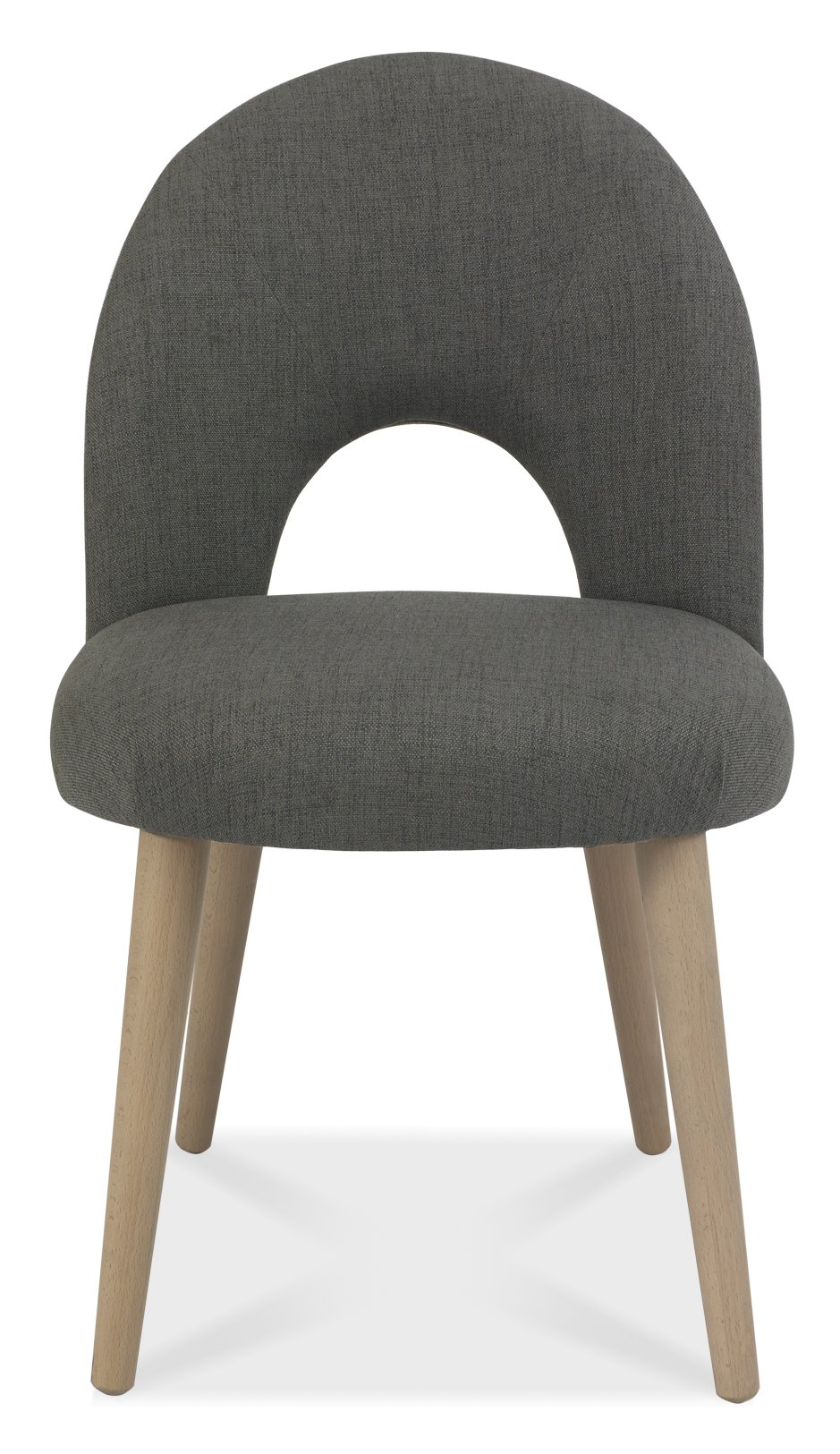 RETRO GREY FABRIC DINING CHAIR - FRONT DETAIL.
