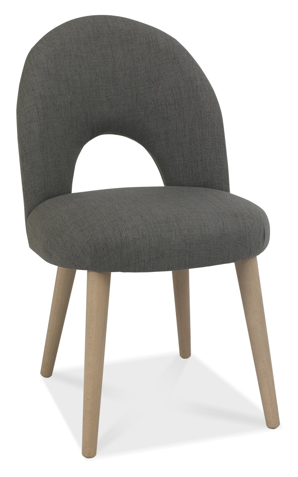 RETRO GREY FABRIC DINING CHAIR - FRONT DETAIL