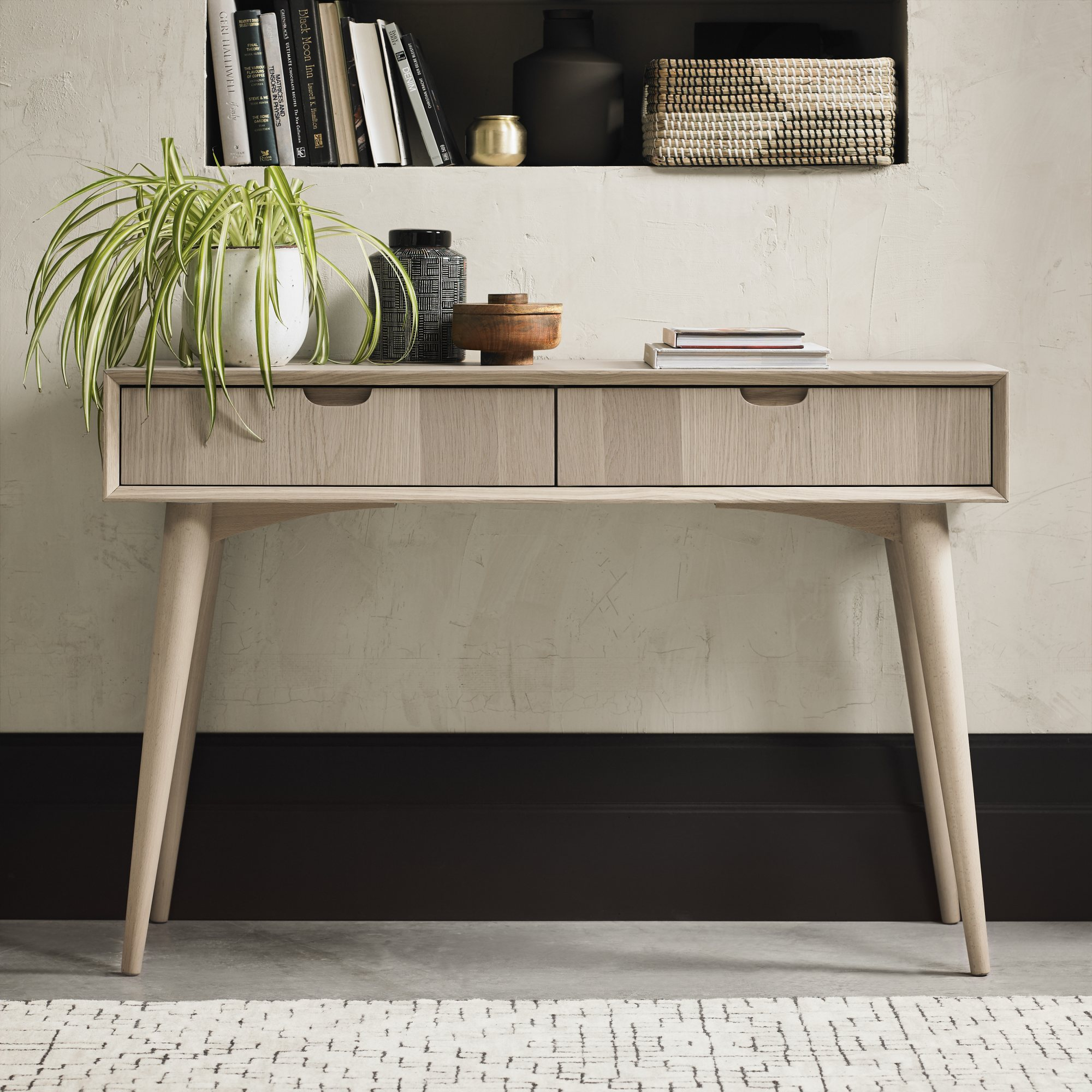 RETRO OAK CONSOLE WITH DRAWERS -  L115cm x D37cm x H77cm