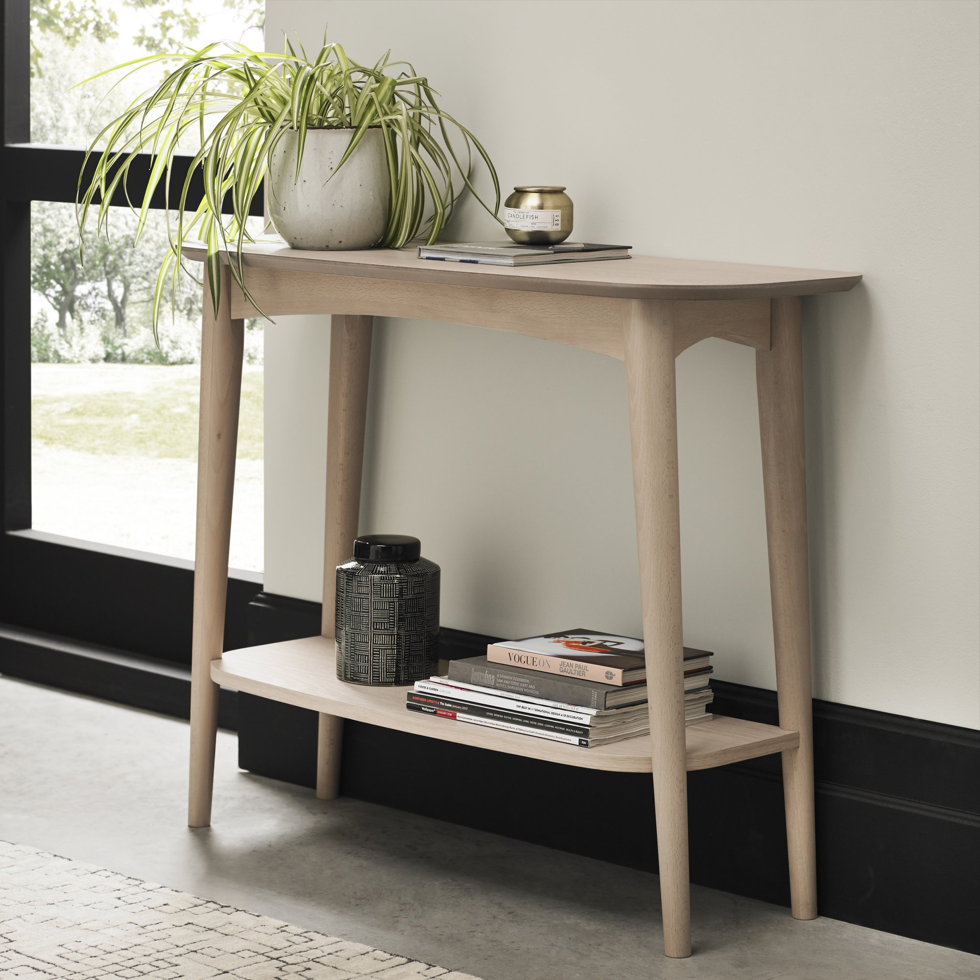 RETRO OAK CONSOLE WITH SHELF L97cm x D35cm x H77cm