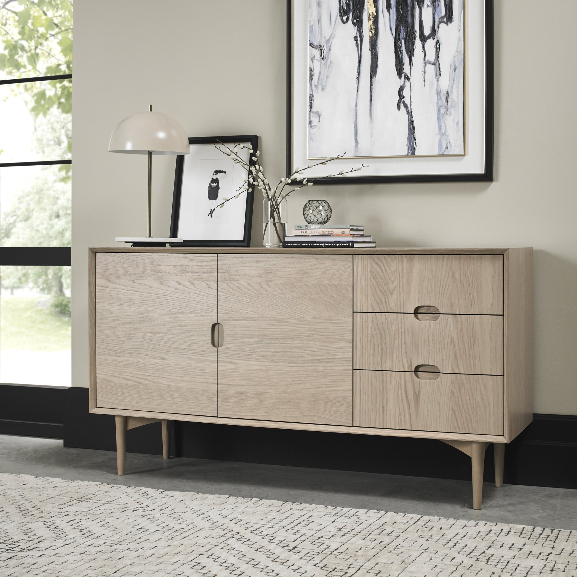 RETRO OAK WIDE SIDEBOARD  L155cm x D45cm x H85cm