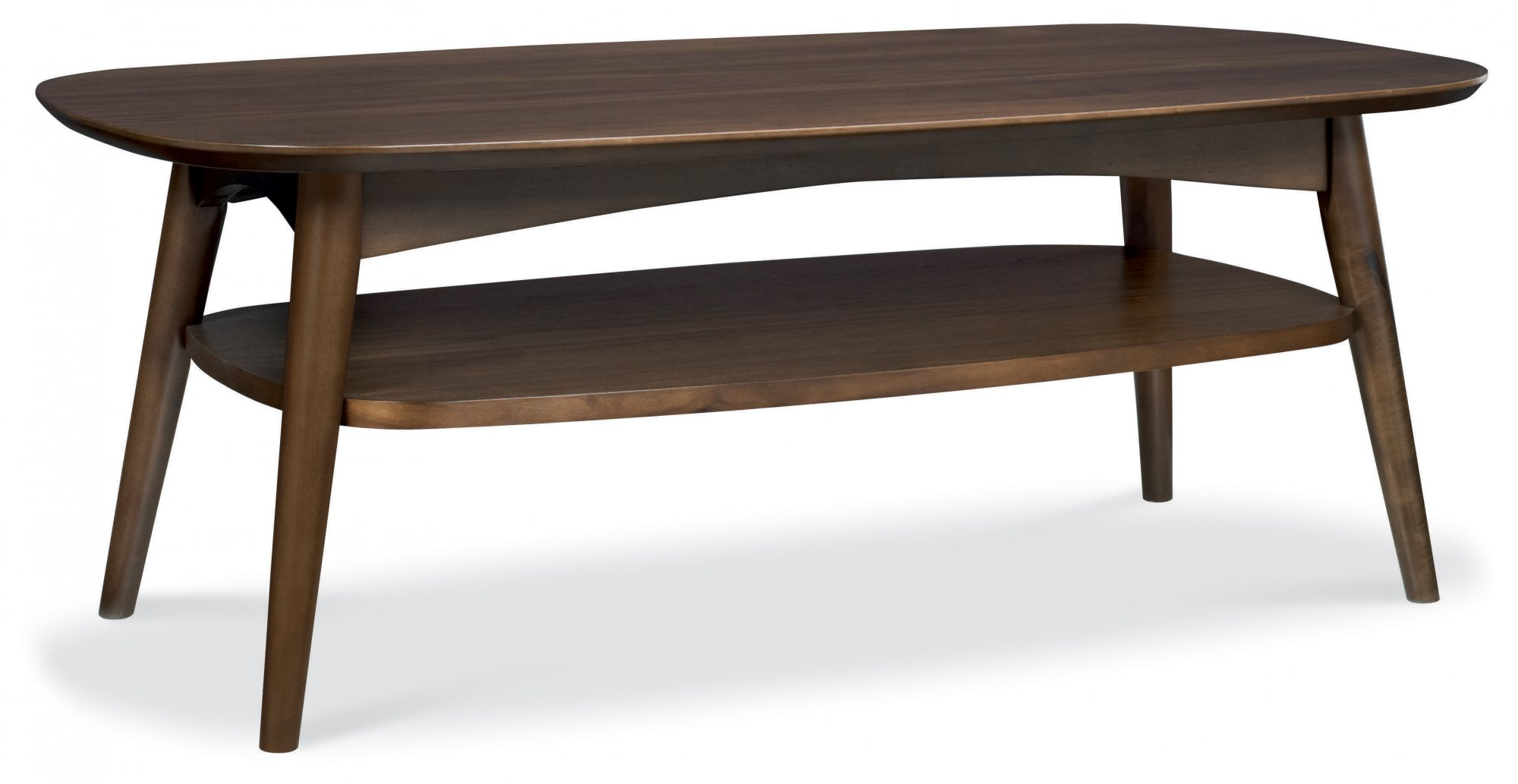 RETRO WALNUT COFFEE TABLE WITH SHELF L109cm x D59cm x H40cm