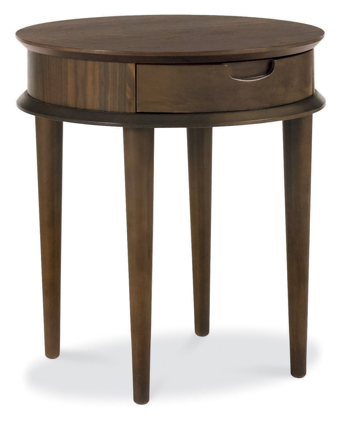 RETRO WALNUT DRAWER LAMP TABLE - L50cm x D50cm x H55cm