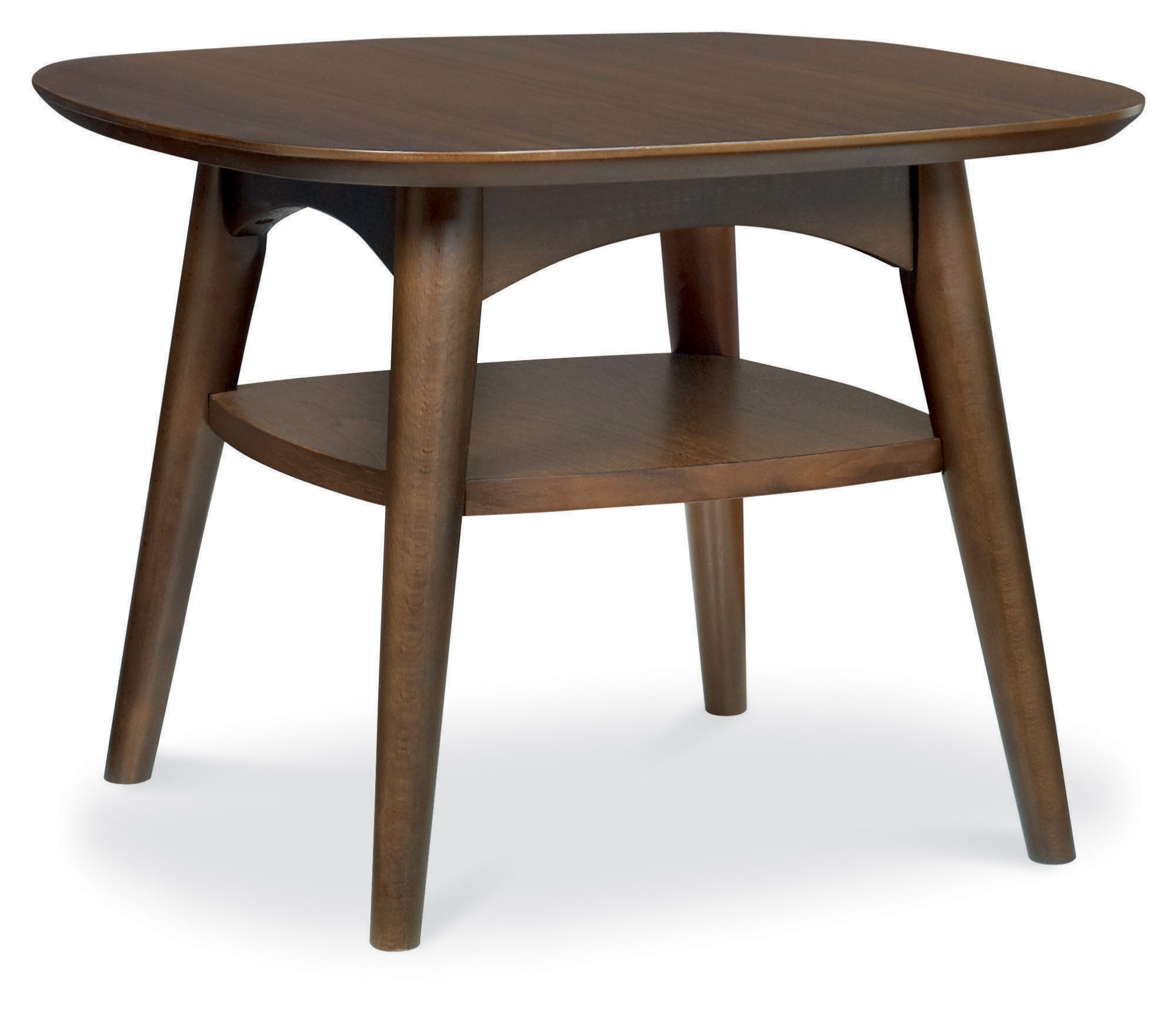RETRO WALNUT SIDE TABLE WITH SHELF L55cm x D55cm x H40cm