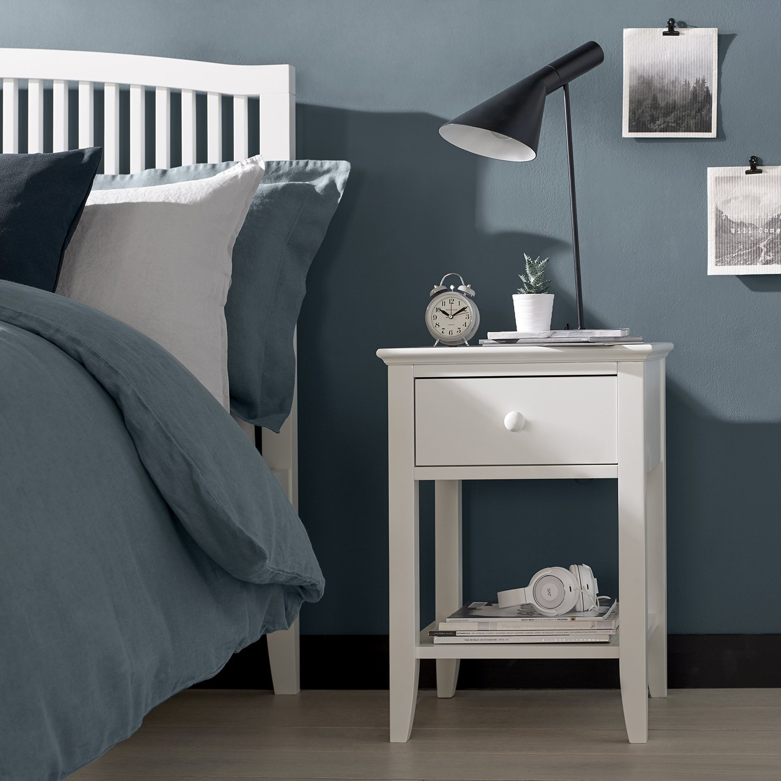 ASHLEY (GREY or WHITE) 1DR NIGHTSTAND - L43cm x D42cm x H62cm