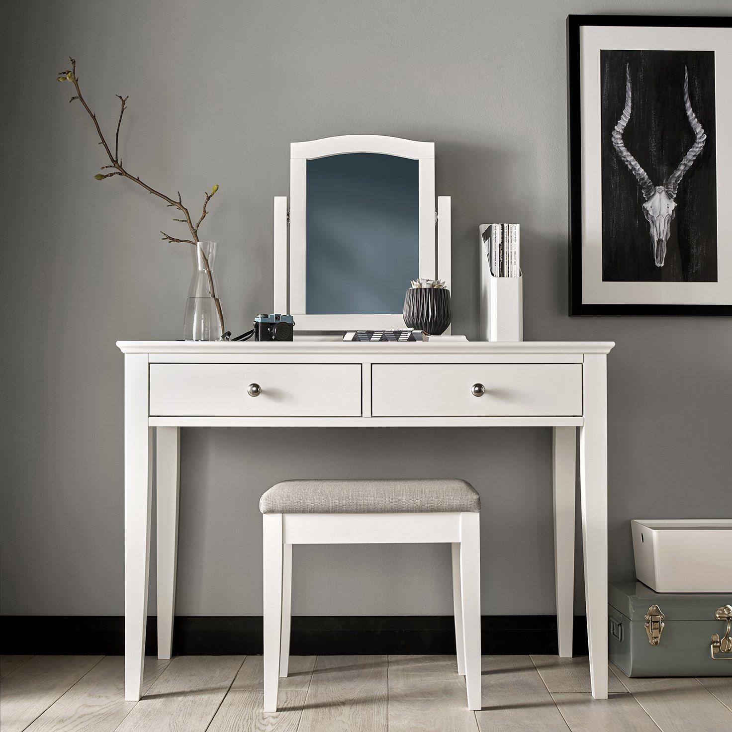 ASHLEY (GREY or WHITE) DRESSING TABLE - L109cm x D47cm x H78cm