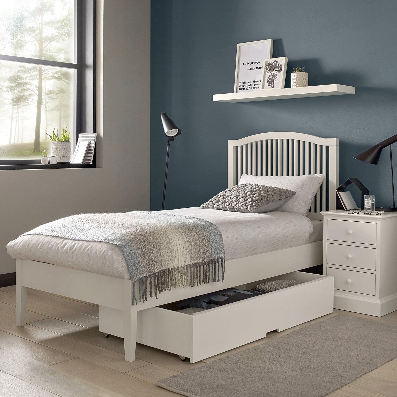ASHLEY (GREY or WHITE) SINGLE BED FRAME.