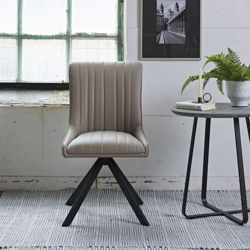 CAMMIE TAUPE CHAIR - FRONT DETAIL
