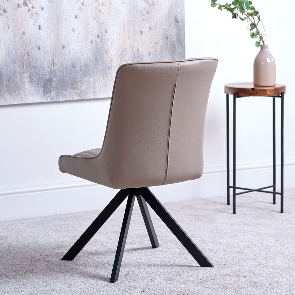 CAMMIE TAUPE DINING CHAIR - BACK DETAIL