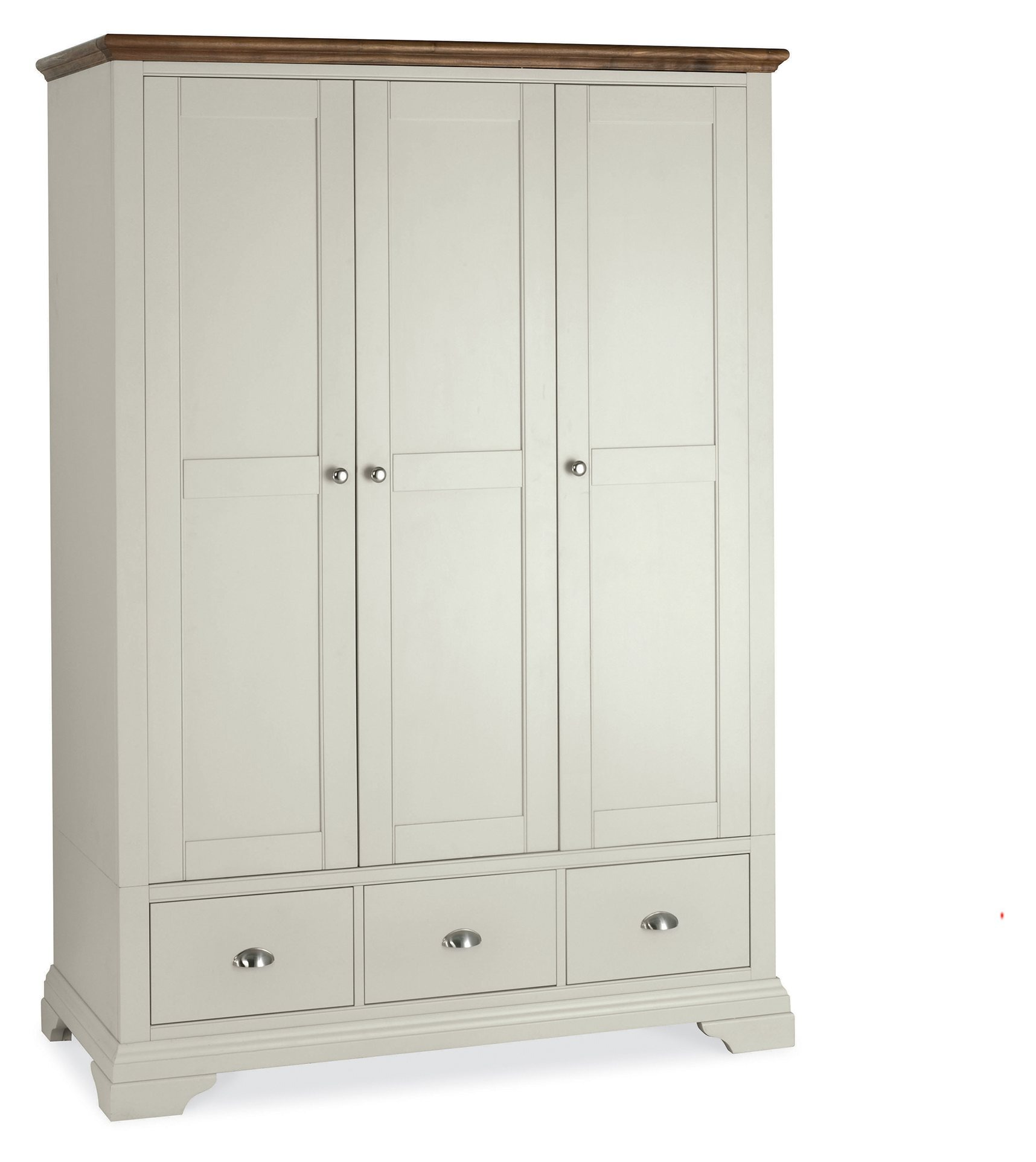 EARL GREY AND WALNUT TRIPLE WARDROBE - L138cm x D58cm x H195cm