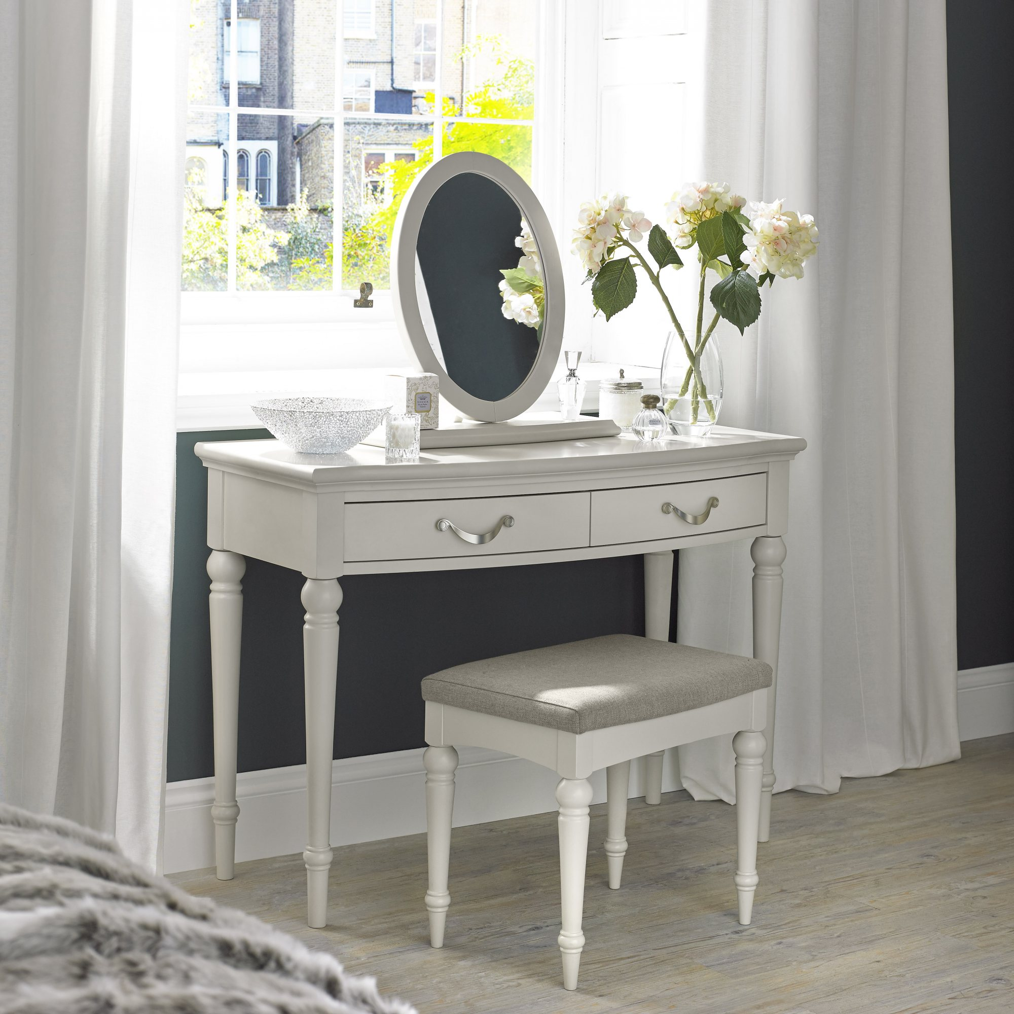 MONICA GREY DRESSING TABLE - L110cm x D49cm x H80cm