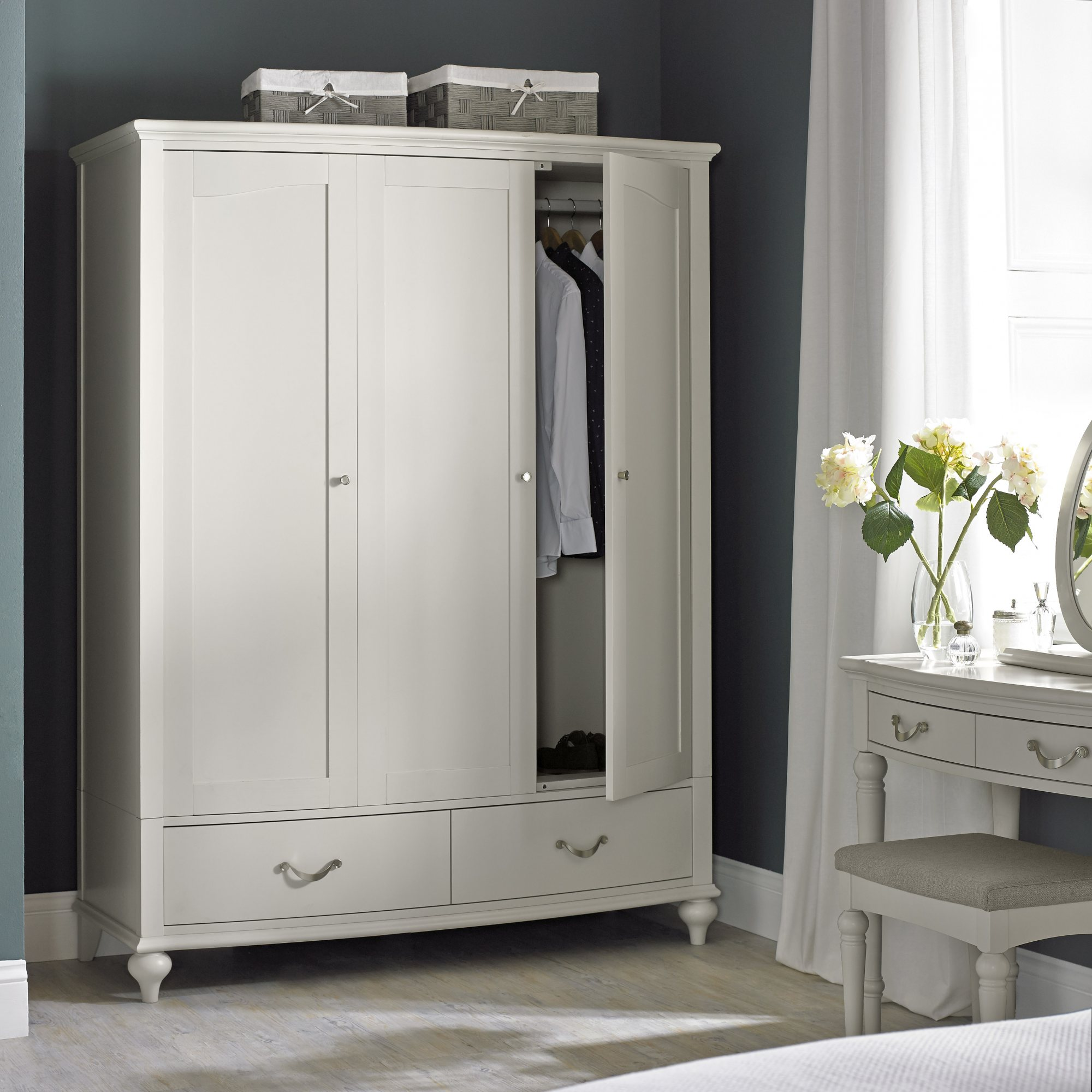MONICA GREY TRIPLE WARDROBE - L155cm x D64cm x H200cm