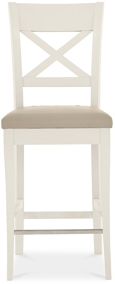 MONICA GREY X-BACK STOOL - FRONT DETAIL