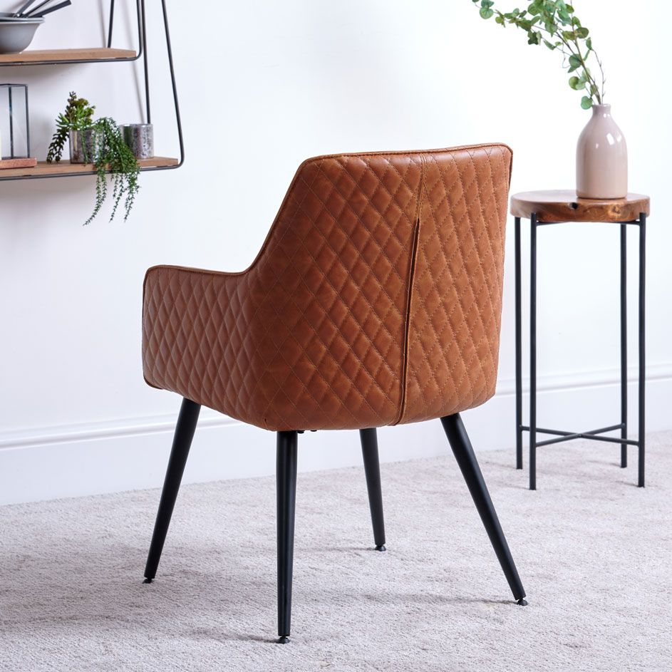 ORLANDO TAN DINING CHAIR - BACK DETAIL