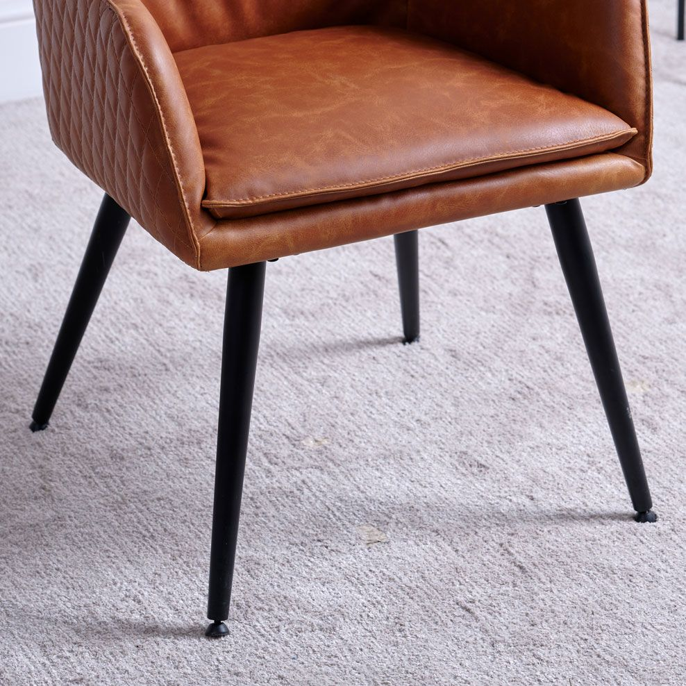 ORLANDO TAN DINING CHAIR - SEAT DETAIL