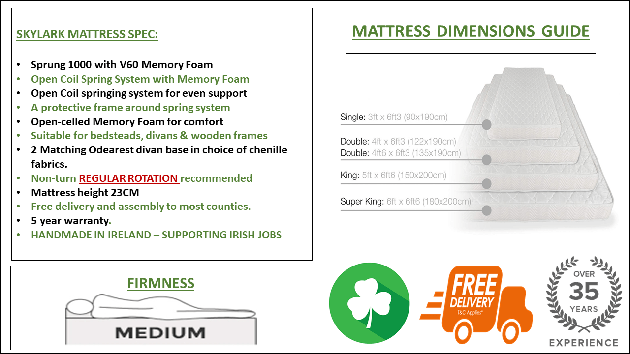 SKYLARK MATTRESS SPEC SHEET.