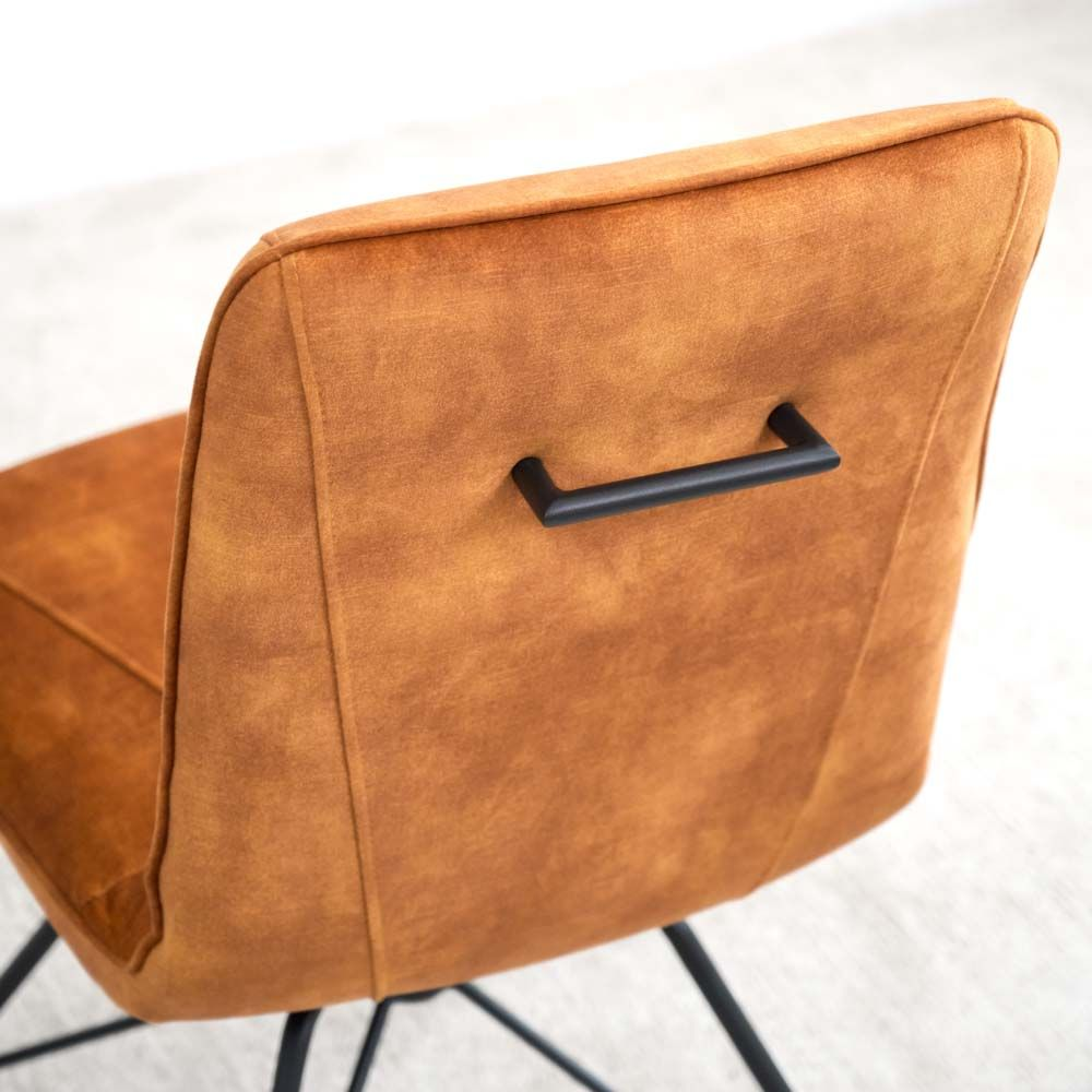 LOTTI MUSTARD CHAIR HANDLE DETAIL
