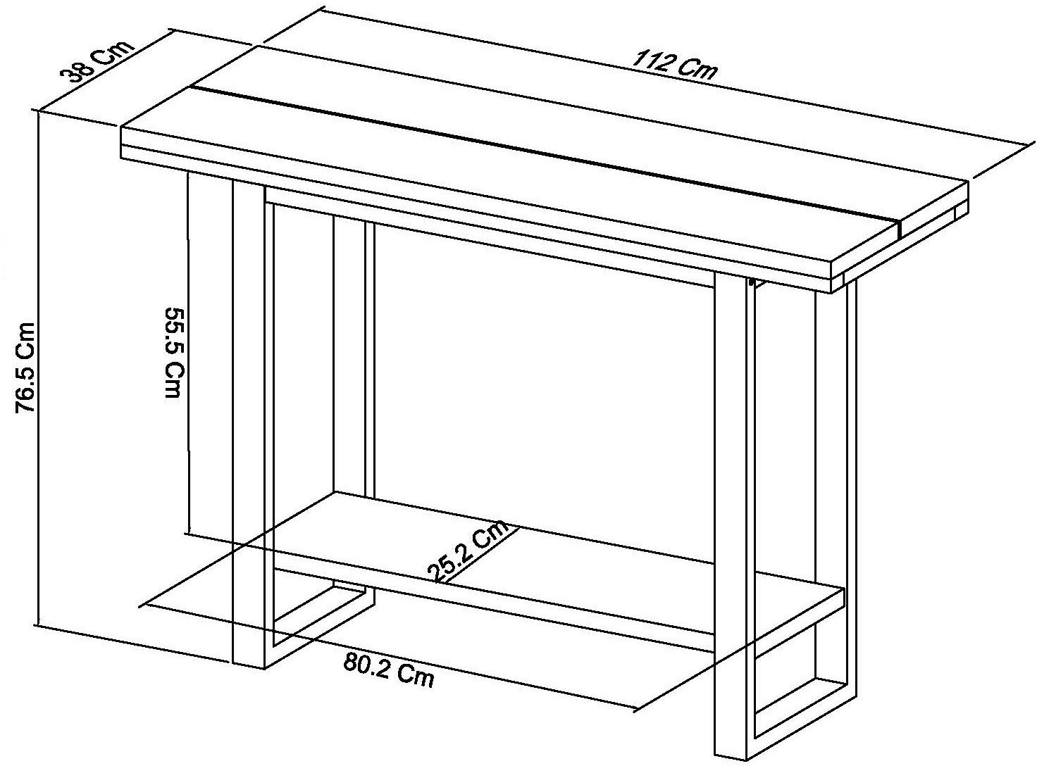 BRINDISI CONSOLE TABLE - DIMENSIONS