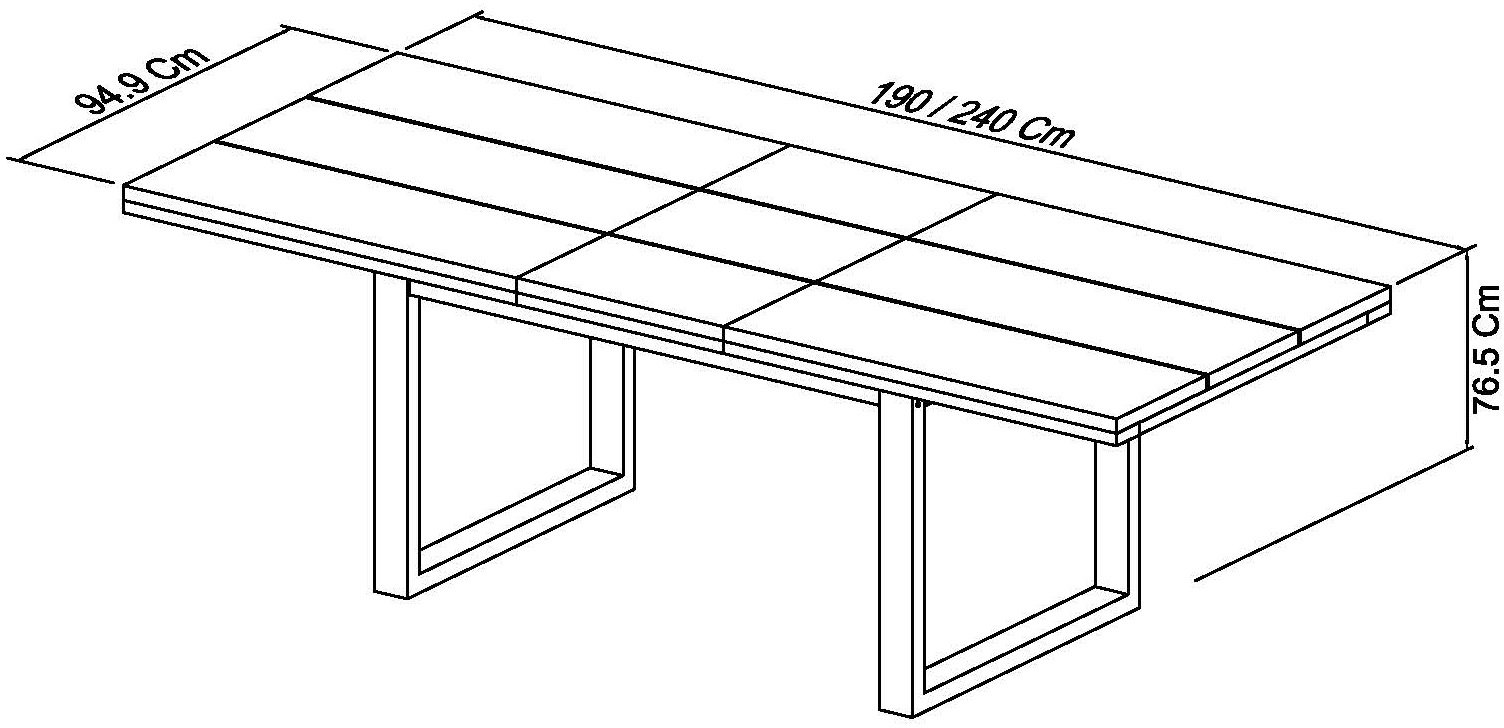BRININDISI 6-8 EXTENDING DINING TABLE - DIMENSIONS