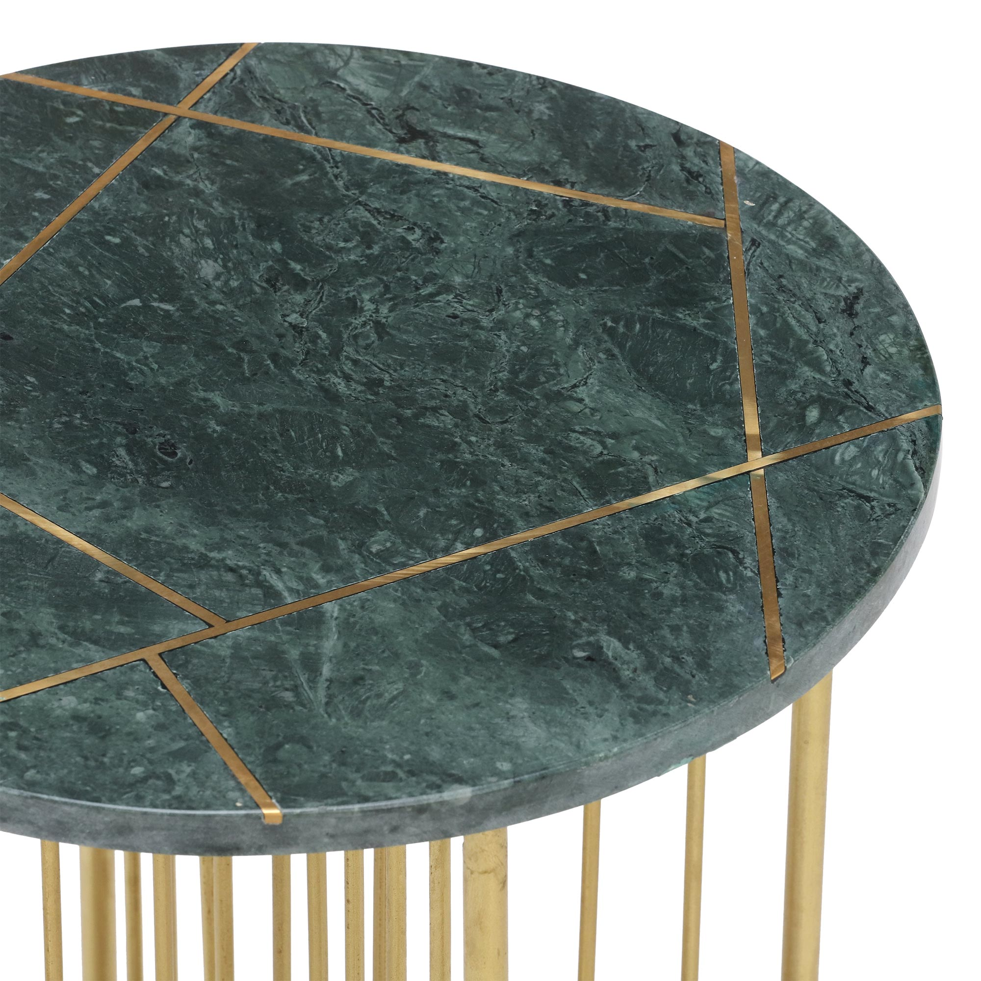 INSIGNIA LAMP TABLE - MARBLE AND BRASS INLAY DETAIL