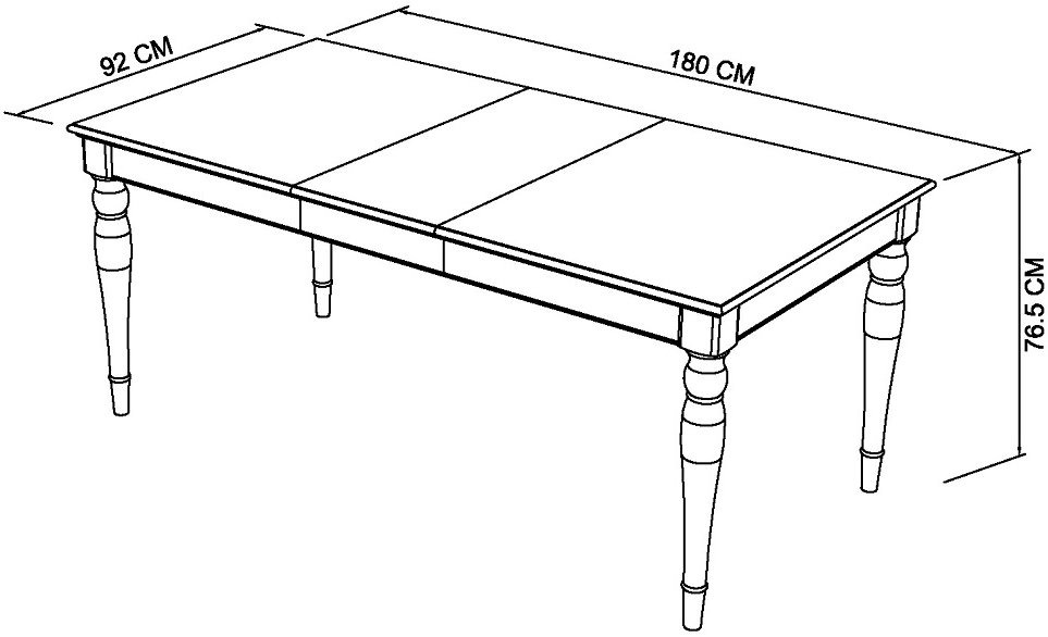 KYRA TWOTONE 6-8 DINING TABLE DIMENSIONS