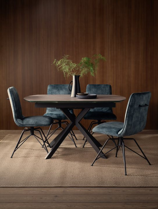 NEW ENGLAND DINING TABLE - TEAL LOTTI CHAIRS